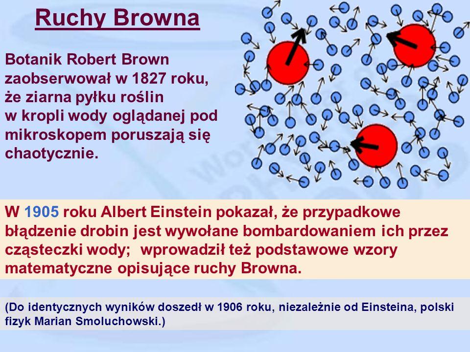 Ruchy Browna Botanik Robert Brown zaobserwował w 1827 roku, że ziarna pyłku roślin w kropli wody oglądanej pod mikroskopem poruszają się chaotycznie.