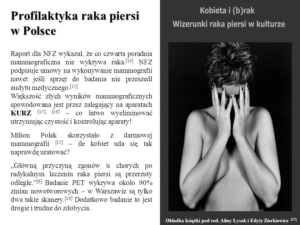 Profilaktyka raka piersi w Polsce Raport dla NFZ wykazał, że co czwarta poradnia mammograficzna nie wykrywa raka. [14] NFZ podpisuje umowy na wykonywa