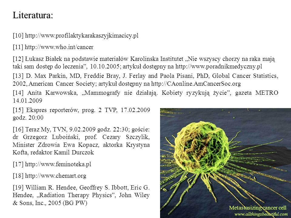 Metastasizing cancer cell www.allthingsbeautiful.com Literatura: [10] http://www.profilaktykarakaszyjkimacicy.pl [11] http://www.who.int/cancer [12] Ł