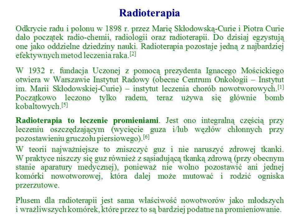 Odkrycie radu i polonu w 1898 r. przez Marię Skłodowską-Curie i Piotra Curie dało początek radio-chemii, radiologii oraz radioterapii. Do dzisiaj egzy