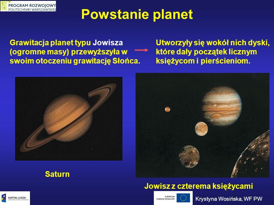 Powstanie planet Grawitacja planet typu Jowisza (ogromne masy) przewyższyła w swoim otoczeniu grawitację Słońca. Utworzyły się wokół nich dyski, które