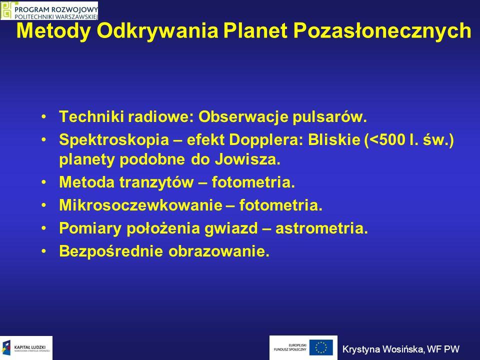 Metody Odkrywania Planet Pozasłonecznych Techniki radiowe: Obserwacje pulsarów. Spektroskopia – efekt Dopplera: Bliskie (<500 l. św.) planety podobne