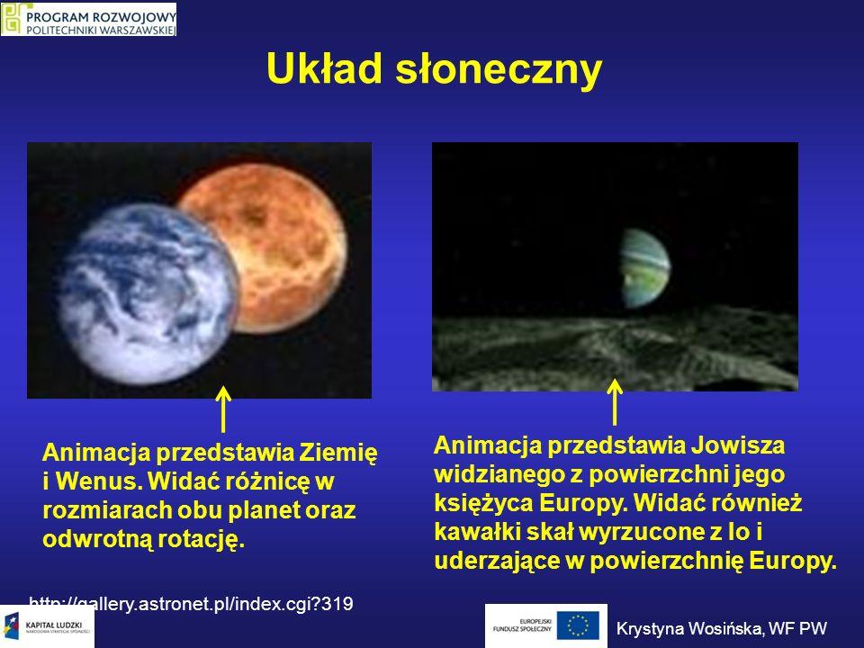Układ słoneczny Animacja przedstawia Ziemię i Wenus. Widać różnicę w rozmiarach obu planet oraz odwrotną rotację. http://gallery.astronet.pl/index.cgi