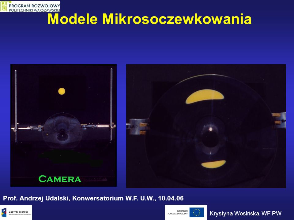Modele Mikrosoczewkowania Prof. Andrzej Udalski, Konwersatorium W.F. U.W., 10.04.06 Krystyna Wosińska, WF PW