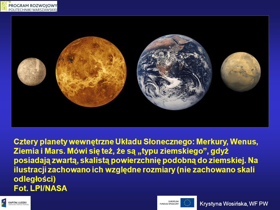 Cztery planety wewnętrzne Układu Słonecznego: Merkury, Wenus, Ziemia i Mars. Mówi się też, że są typu ziemskiego, gdyż posiadają zwartą, skalistą powi