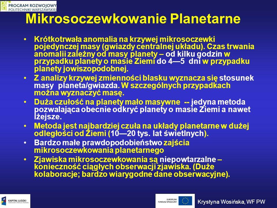 Mikrosoczewkowanie Planetarne Krótkotrwała anomalia na krzywej mikrosoczewki pojedynczej masy (gwiazdy centralnej układu). Czas trwania anomalii zależ