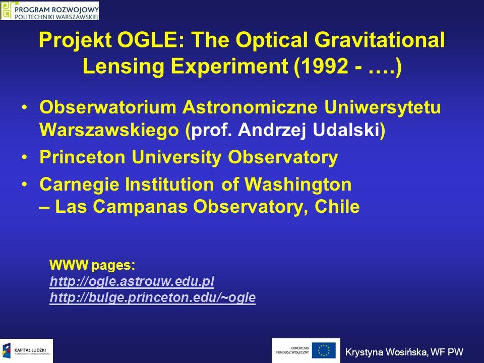 Projekt OGLE: The Optical Gravitational Lensing Experiment (1992 - ….) Obserwatorium Astronomiczne Uniwersytetu Warszawskiego (prof. Andrzej Udalski)