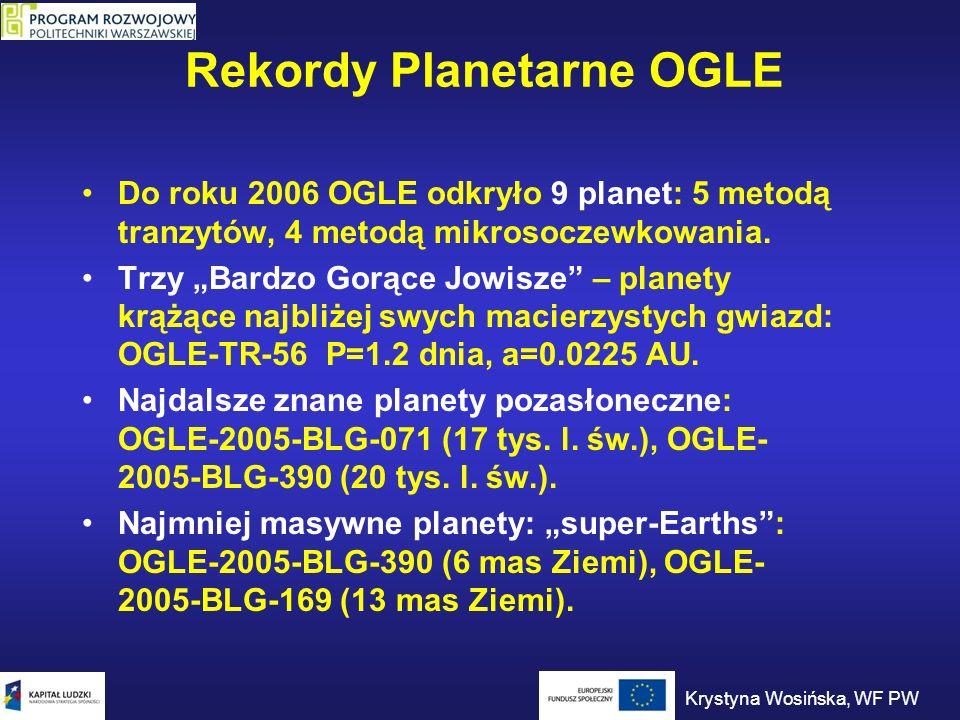 Rekordy Planetarne OGLE Do roku 2006 OGLE odkryło 9 planet: 5 metodą tranzytów, 4 metodą mikrosoczewkowania. Trzy Bardzo Gorące Jowisze – planety krąż