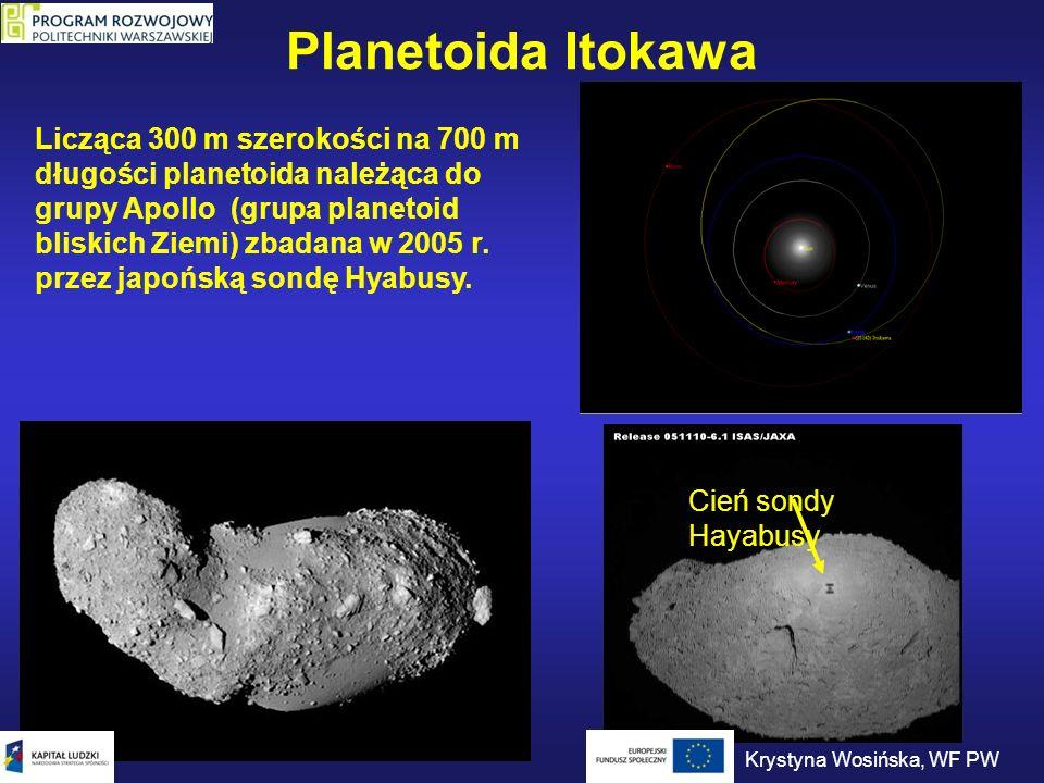 Planetoida Itokawa Cień sondy Hayabusy Licząca 300 m szerokości na 700 m długości planetoida należąca do grupy Apollo (grupa planetoid bliskich Ziemi)