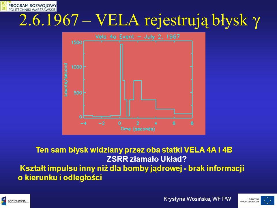 2.6.1967 – VELA rejestrują błysk Krystyna Wosińska, WF PW Ten sam błysk widziany przez oba statki VELA 4A i 4B ZSRR złamało Układ? Kształt impulsu inn