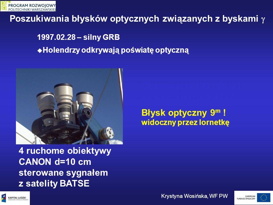 4 ruchome obiektywy CANON d=10 cm sterowane sygnałem z satelity BATSE Obserwacja 1999.01.23 20 s po alercie BATSE Błysk optyczny 9 m ! widoczny przez