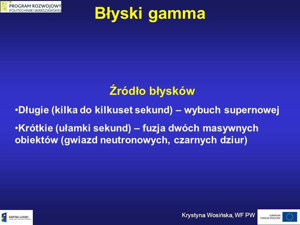 Błyski gamma Krystyna Wosińska, WF PW Źródło błysków Długie (kilka do kilkuset sekund) – wybuch supernowej Krótkie (ułamki sekund) – fuzja dwóch masyw