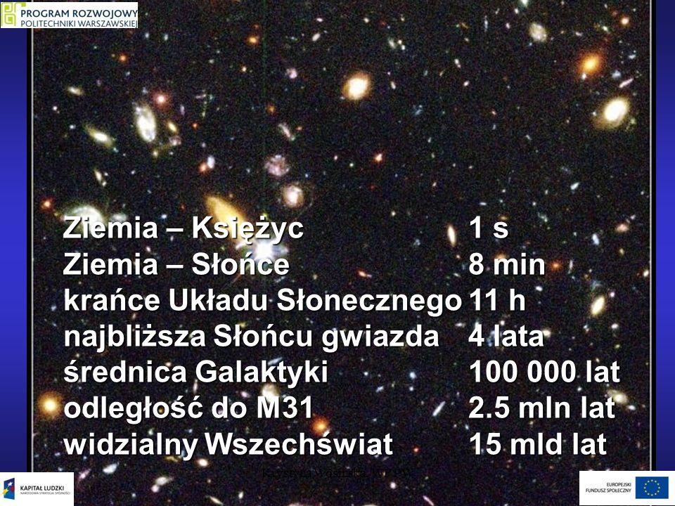 Skale odległości w jednostkach świetlnych Krystyna Wosińska, WF PW Ziemia – Księżyc1 s Ziemia – Słońce8 min krańce Układu Słonecznego11 h najbliższa S