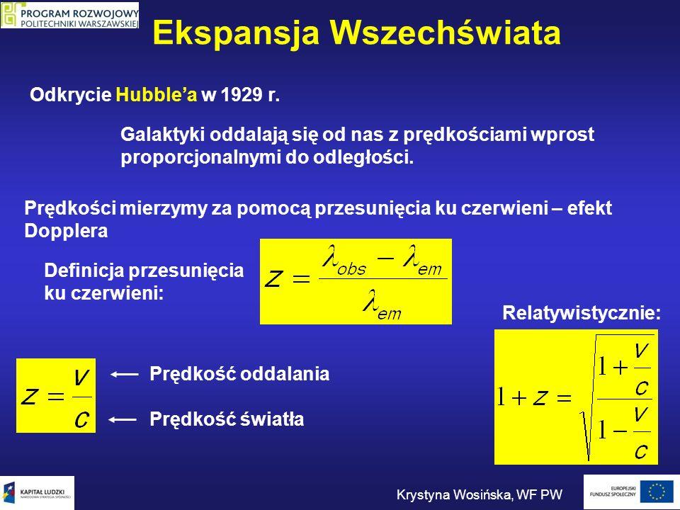 Ekspansja Wszechświata Krystyna Wosińska, WF PW Odkrycie Hubblea w 1929 r. Galaktyki oddalają się od nas z prędkościami wprost proporcjonalnymi do odl