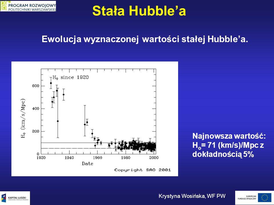 Stała Hubblea Krystyna Wosińska, WF PW Ewolucja wyznaczonej wartości stałej Hubblea. Najnowsza wartość: H o = 71 (km/s)/Mpc z dokładnością 5%