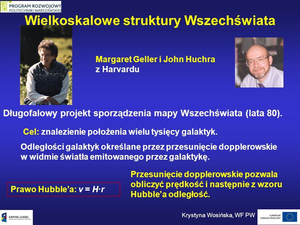 Wielkoskalowe struktury Wszechświata Krystyna Wosińska, WF PW Margaret Geller i John Huchra z Harvardu Cel: znalezienie położenia wielu tysięcy galakt