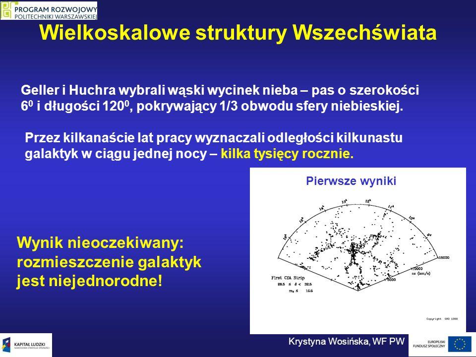 Wielkoskalowe struktury Wszechświata Krystyna Wosińska, WF PW Geller i Huchra wybrali wąski wycinek nieba – pas o szerokości 6 0 i długości 120 0, pok