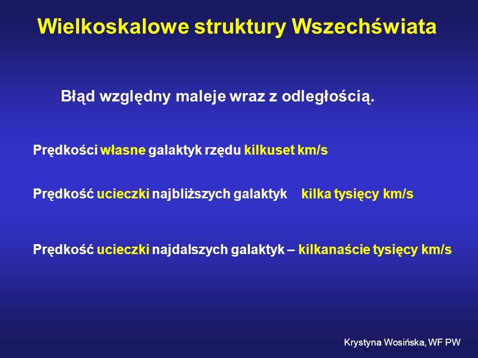 Wielkoskalowe struktury Wszechświata Krystyna Wosińska, WF PW Błąd względny maleje wraz z odległością. Prędkości własne galaktyk rzędu kilkuset km/s P