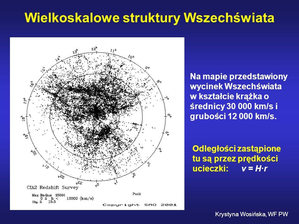 Wielkoskalowe struktury Wszechświata Krystyna Wosińska, WF PW Na mapie przedstawiony wycinek Wszechświata w kształcie krążka o średnicy 30 000 km/s i