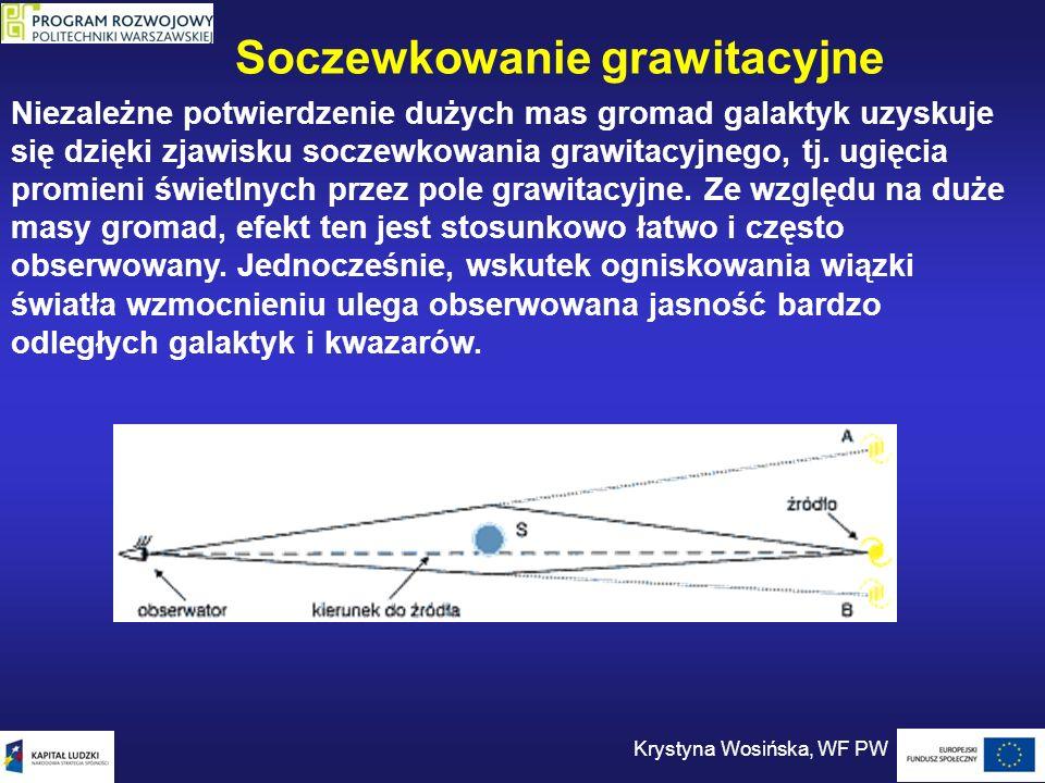 Niezależne potwierdzenie dużych mas gromad galaktyk uzyskuje się dzięki zjawisku soczewkowania grawitacyjnego, tj. ugięcia promieni świetlnych przez p