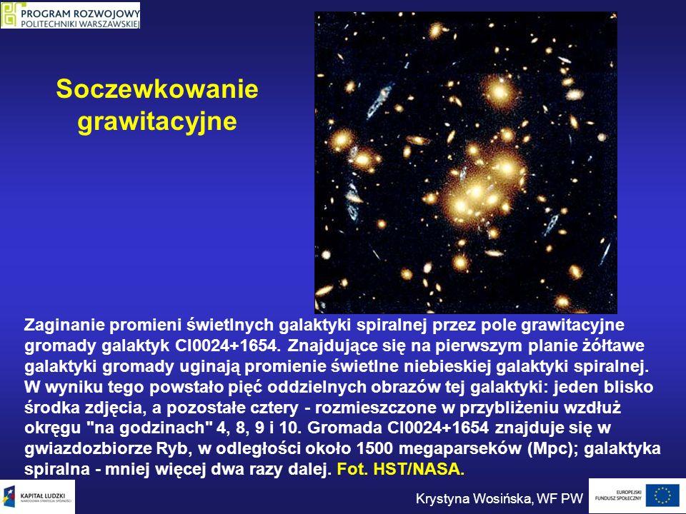 Zaginanie promieni świetlnych galaktyki spiralnej przez pole grawitacyjne gromady galaktyk Cl0024+1654. Znajdujące się na pierwszym planie żółtawe gal