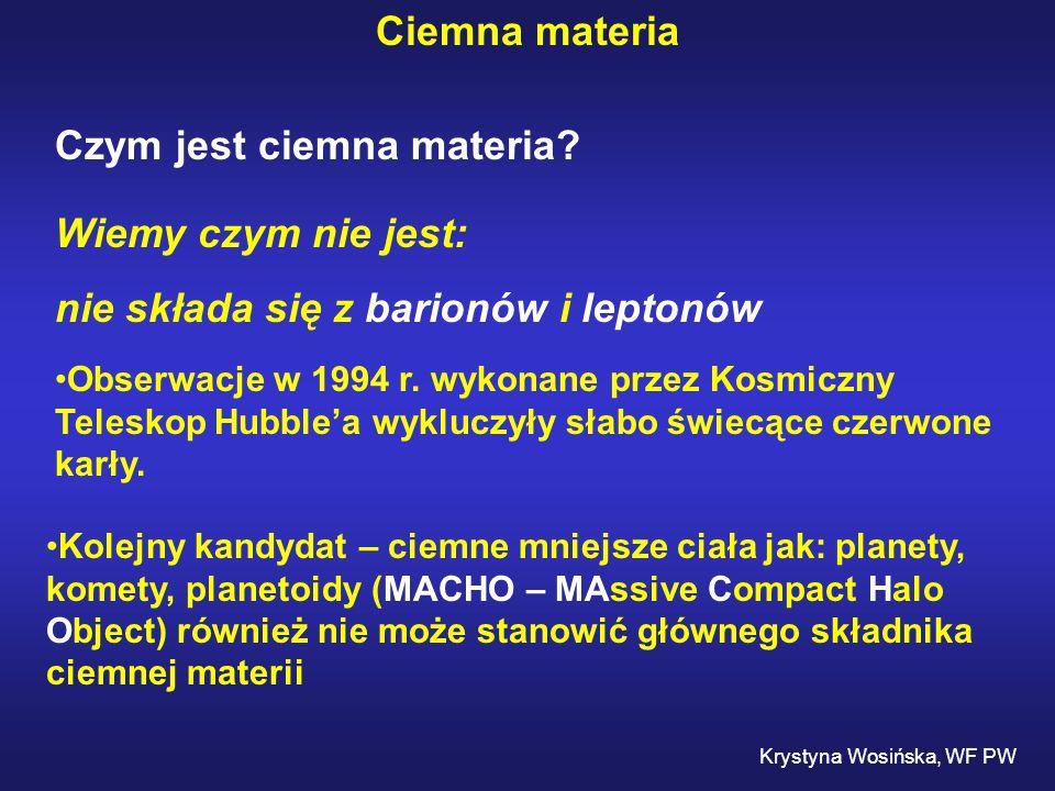Ciemna materia Czym jest ciemna materia? Wiemy czym nie jest: nie składa się z barionów i leptonów Obserwacje w 1994 r. wykonane przez Kosmiczny Teles