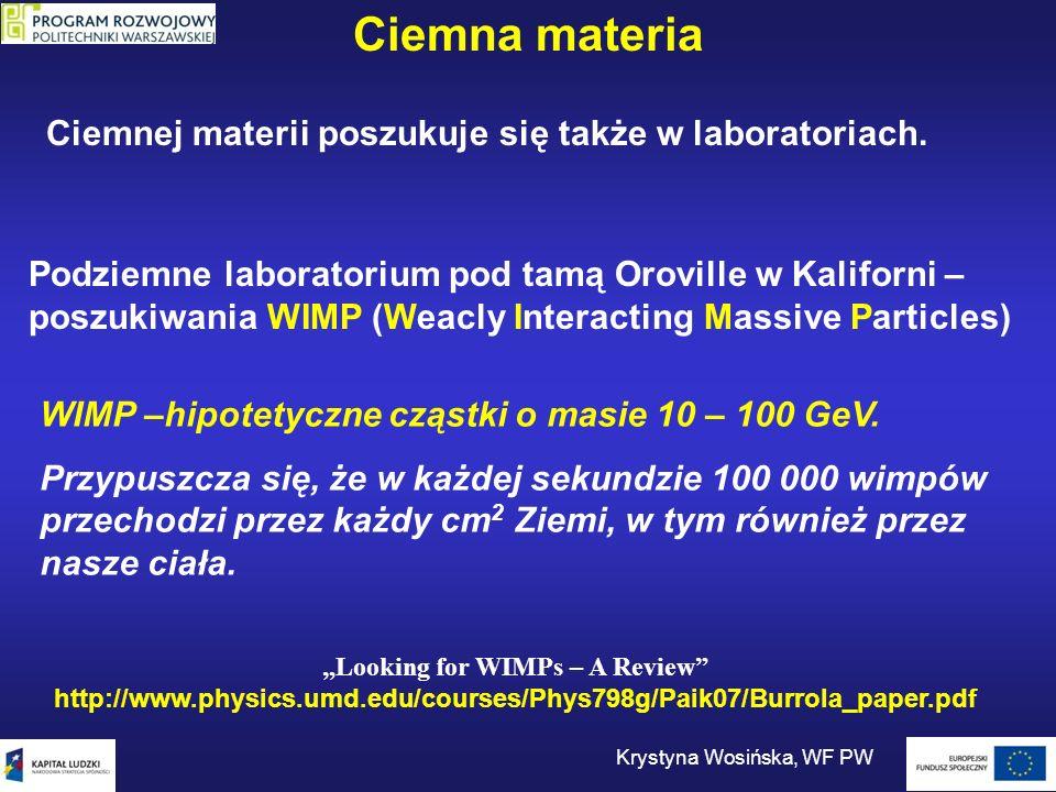 Ciemna materia Ciemnej materii poszukuje się także w laboratoriach. Podziemne laboratorium pod tamą Oroville w Kaliforni – poszukiwania WIMP (Weacly I