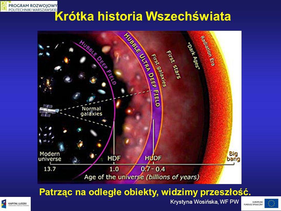 Krótka historia Wszechświata Patrząc na odległe obiekty, widzimy przeszłość. Krystyna Wosińska, WF PW