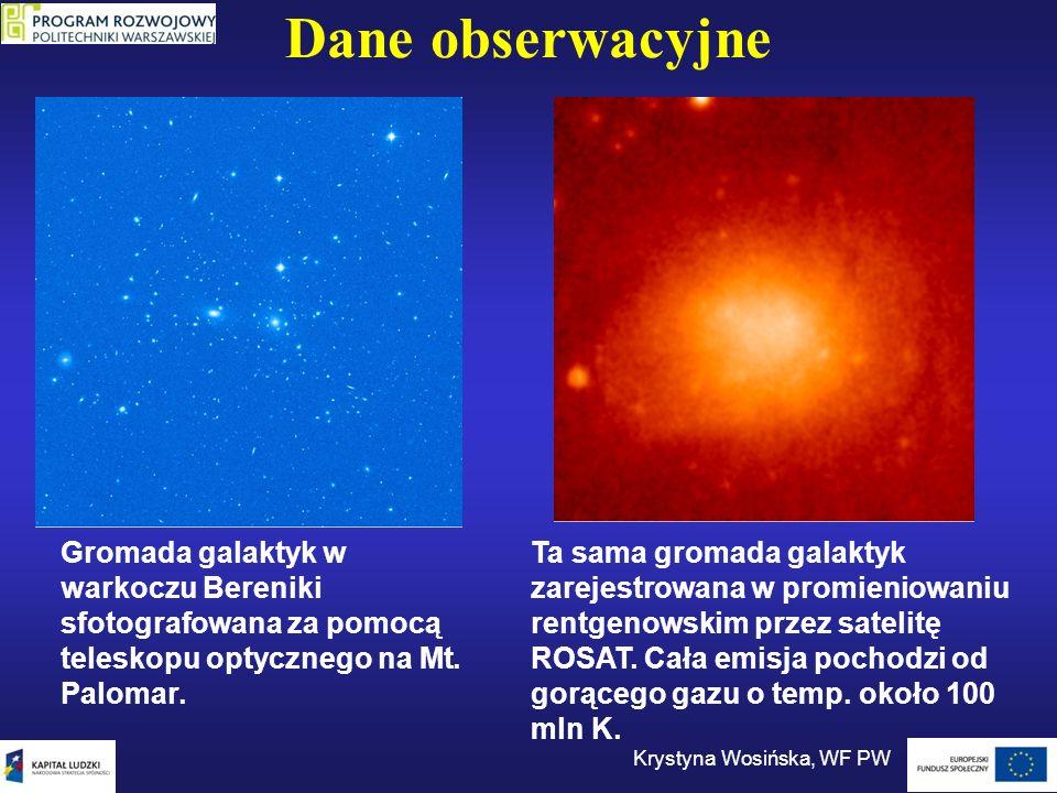 Hierarchia struktur Krystyna Wosińska, WF PW Gromady galaktyk, supergromady, pustki W skalach rzędu 100 Mpc widoczne są wielkoskalowe struktury, gromady połączone w ściany i łańcuchy galaktyk.