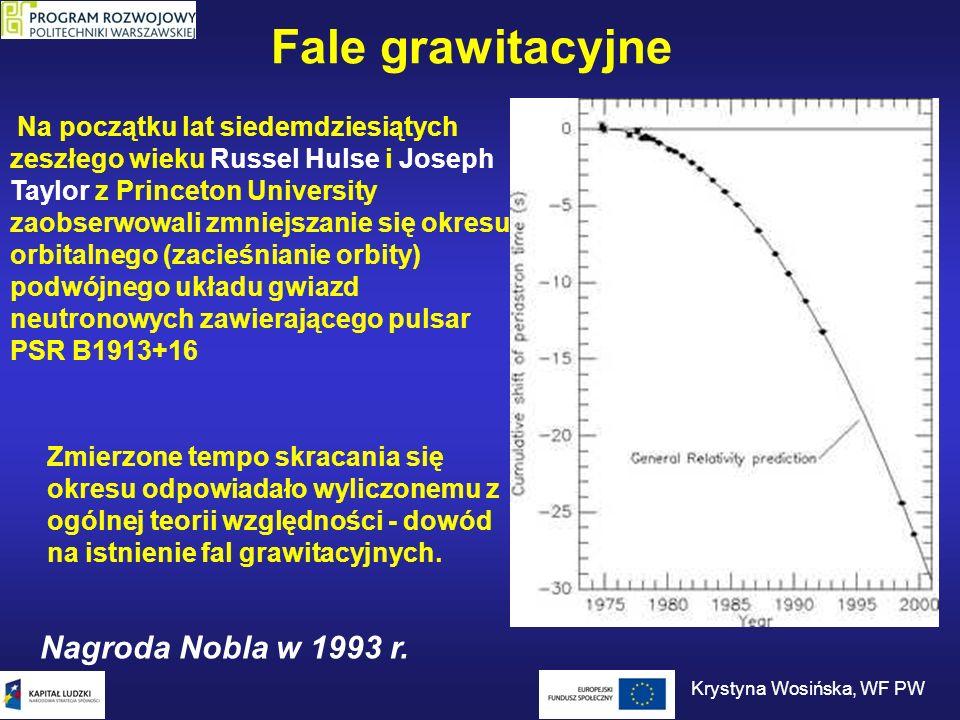 Fale grawitacyjne Na początku lat siedemdziesiątych zeszłego wieku Russel Hulse i Joseph Taylor z Princeton University zaobserwowali zmniejszanie się