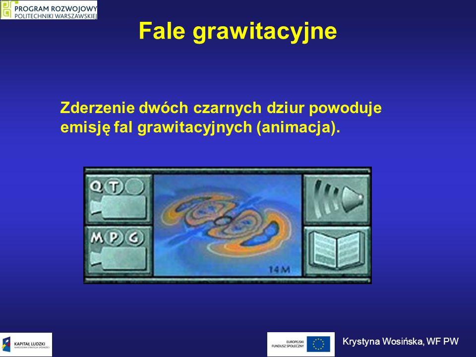 Fale grawitacyjne Zderzenie dwóch czarnych dziur powoduje emisję fal grawitacyjnych (animacja). Krystyna Wosińska, WF PW