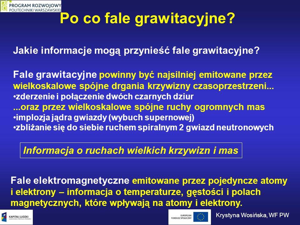 Po co fale grawitacyjne? Jakie informacje mogą przynieść fale grawitacyjne? Fale grawitacyjne powinny być najsilniej emitowane przez wielkoskalowe spó