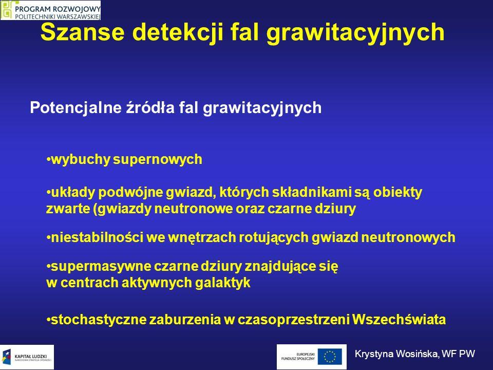 Szanse detekcji fal grawitacyjnych Potencjalne źródła fal grawitacyjnych wybuchy supernowych układy podwójne gwiazd, których składnikami są obiekty zw