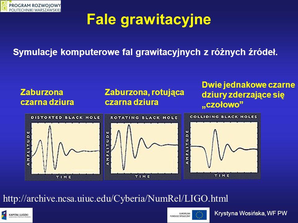 Fale grawitacyjne http://archive.ncsa.uiuc.edu/Cyberia/NumRel/LIGO.html Zaburzona czarna dziura Zaburzona, rotująca czarna dziura Dwie jednakowe czarn