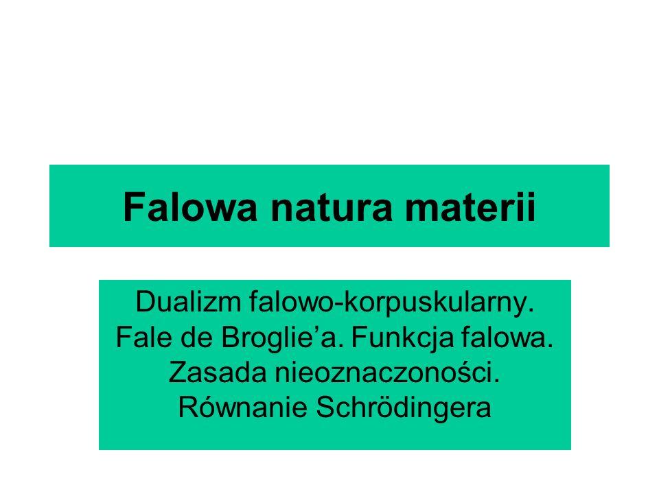Falowa natura materii Dualizm falowo-korpuskularny. Fale de Brogliea. Funkcja falowa. Zasada nieoznaczoności. Równanie Schrödingera