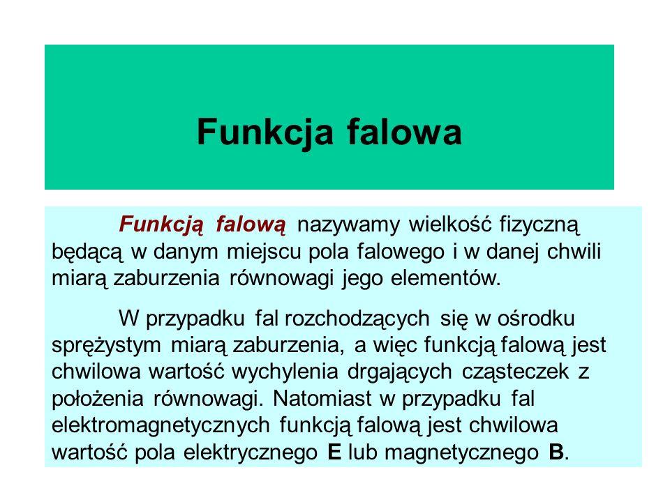 Funkcja falowa Funkcją falową nazywamy wielkość fizyczną będącą w danym miejscu pola falowego i w danej chwili miarą zaburzenia równowagi jego element