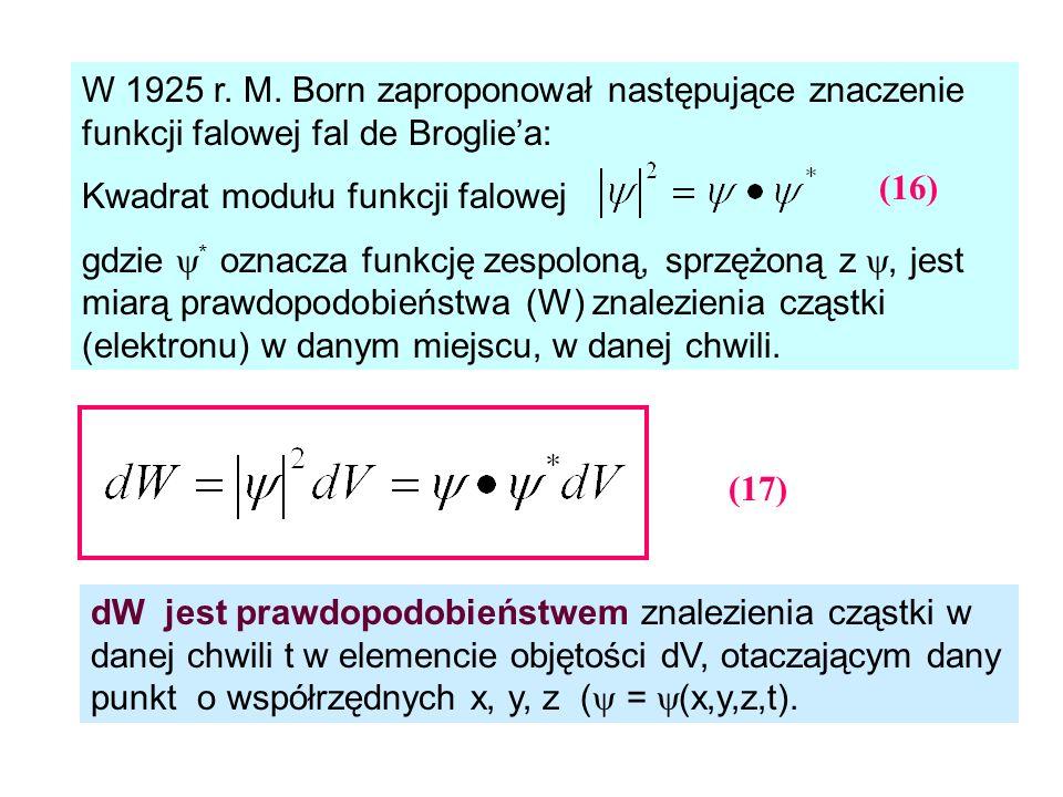 W 1925 r. M. Born zaproponował następujące znaczenie funkcji falowej fal de Brogliea: Kwadrat modułu funkcji falowej gdzie * oznacza funkcję zespoloną