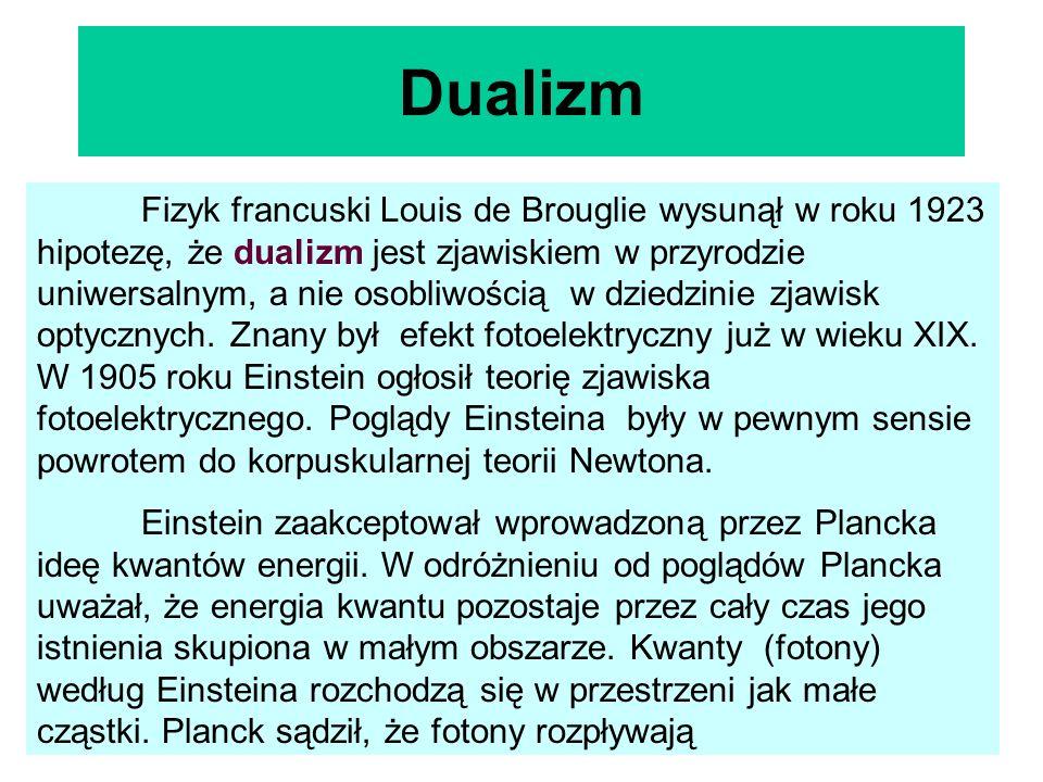 Dualizm Fizyk francuski Louis de Brouglie wysunął w roku 1923 hipotezę, że dualizm jest zjawiskiem w przyrodzie uniwersalnym, a nie osobliwością w dzi