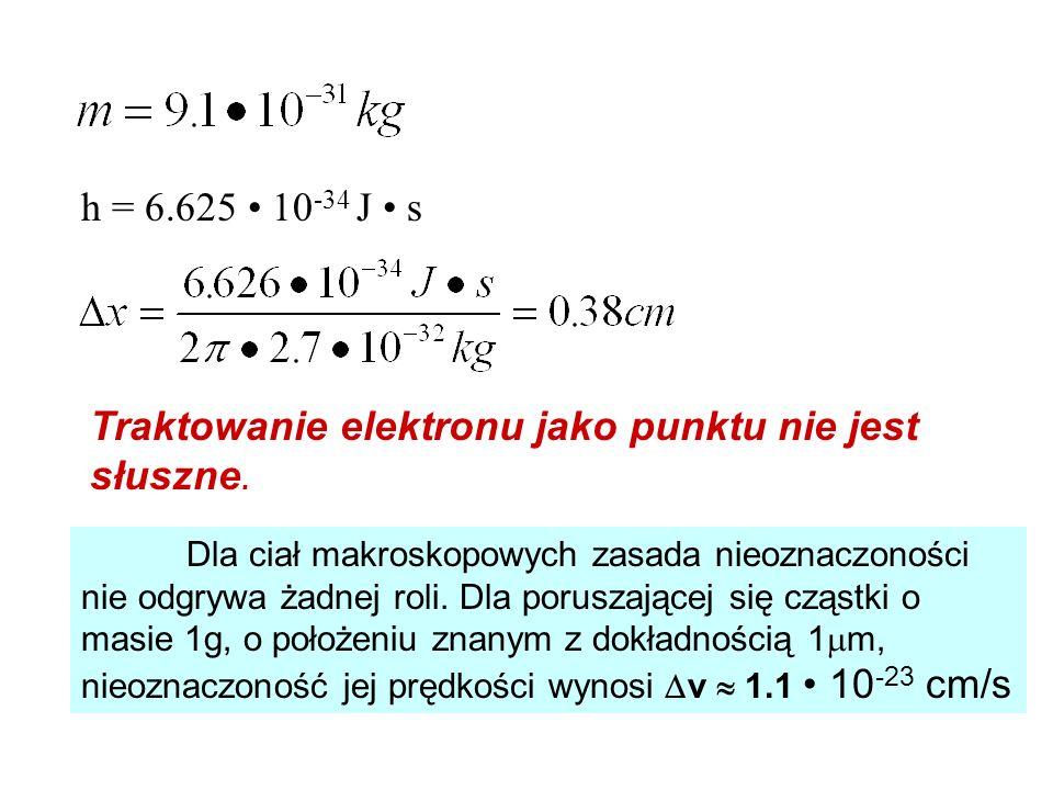 h = 6.625 10 -34 J s Traktowanie elektronu jako punktu nie jest słuszne. Dla ciał makroskopowych zasada nieoznaczoności nie odgrywa żadnej roli. Dla p