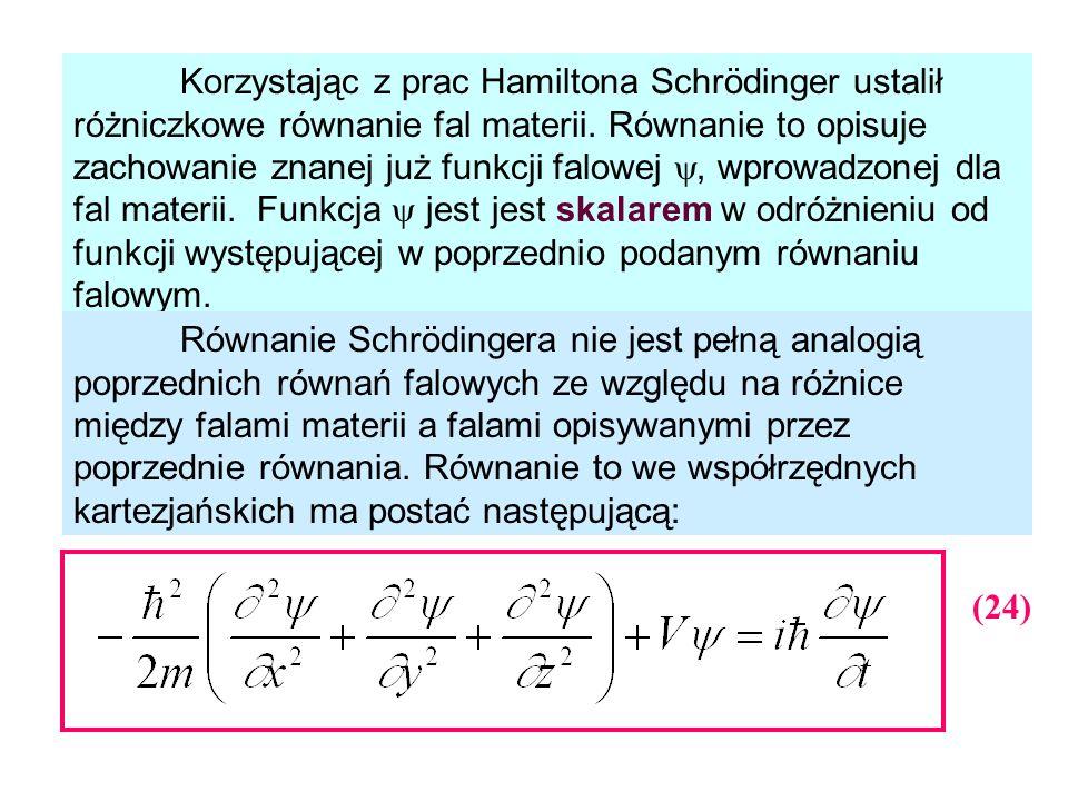 Korzystając z prac Hamiltona Schrödinger ustalił różniczkowe równanie fal materii. Równanie to opisuje zachowanie znanej już funkcji falowej, wprowadz