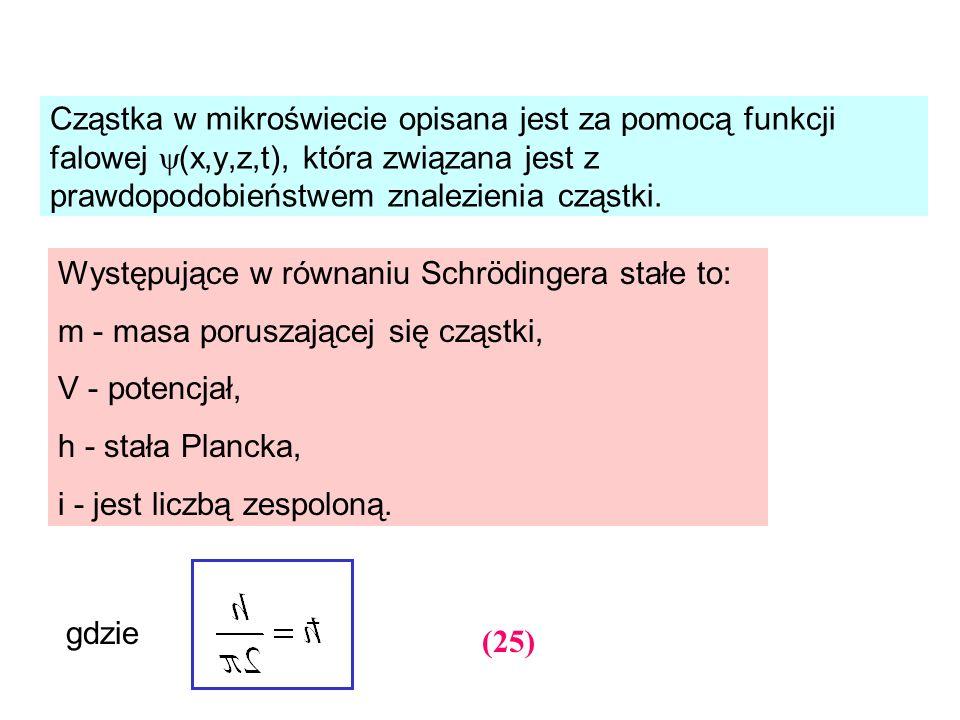 Cząstka w mikroświecie opisana jest za pomocą funkcji falowej (x,y,z,t), która związana jest z prawdopodobieństwem znalezienia cząstki. gdzie (25) Wys