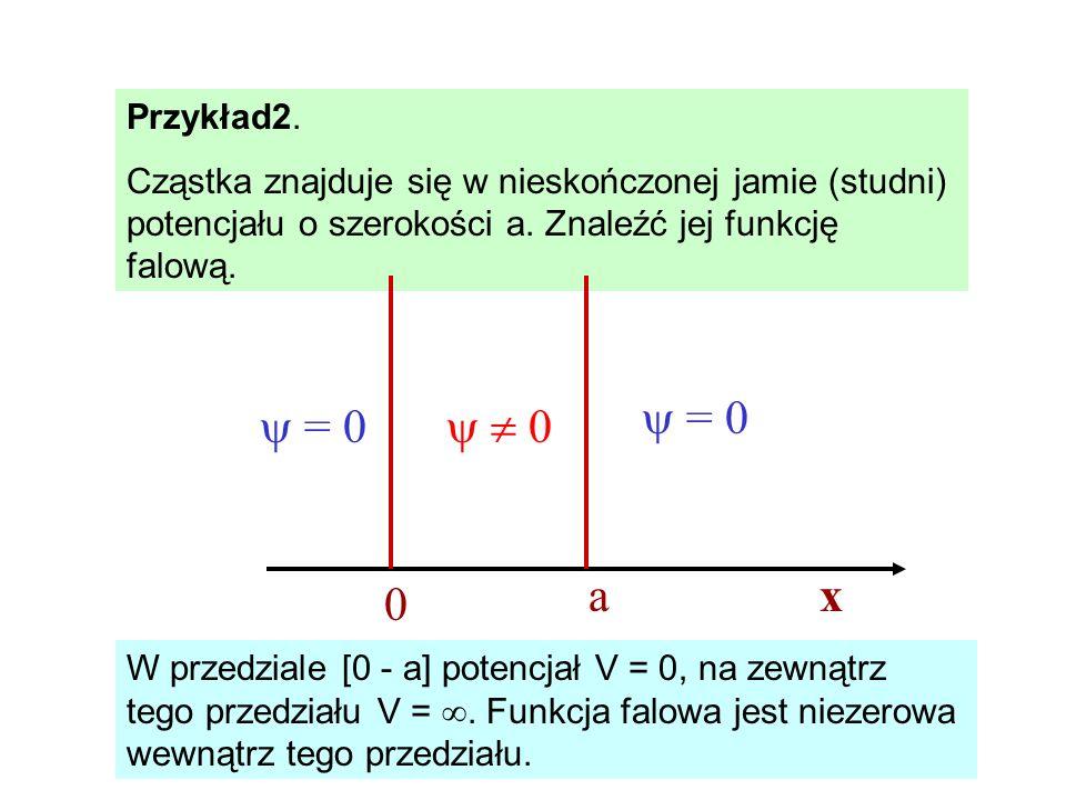 Przykład2. Cząstka znajduje się w nieskończonej jamie (studni) potencjału o szerokości a. Znaleźć jej funkcję falową. W przedziale [0 - a] potencjał V