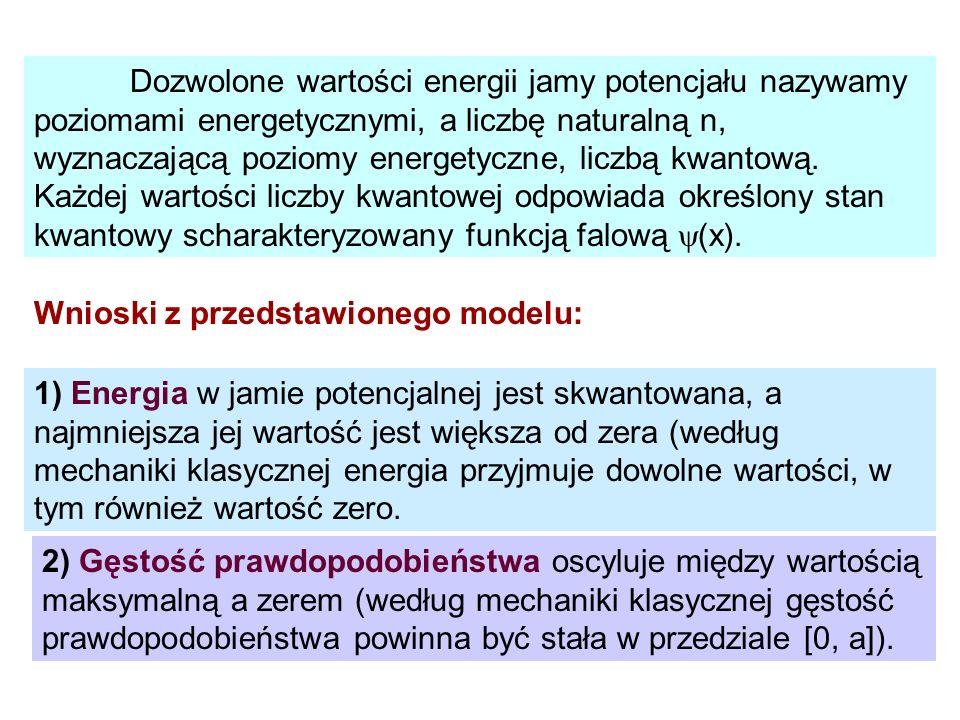 Dozwolone wartości energii jamy potencjału nazywamy poziomami energetycznymi, a liczbę naturalną n, wyznaczającą poziomy energetyczne, liczbą kwantową