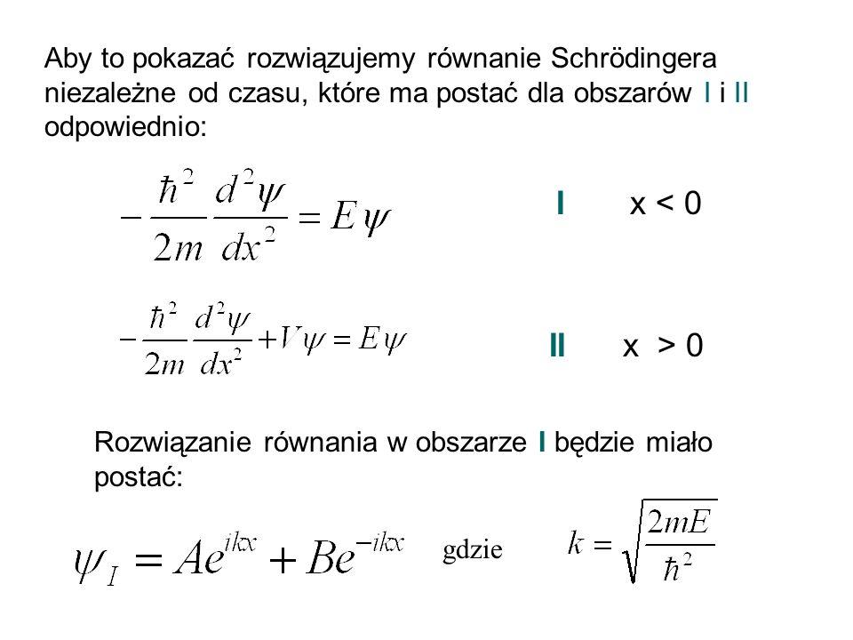 Aby to pokazać rozwiązujemy równanie Schrödingera niezależne od czasu, które ma postać dla obszarów I i II odpowiednio: I x < 0 II x > 0 Rozwiązanie r