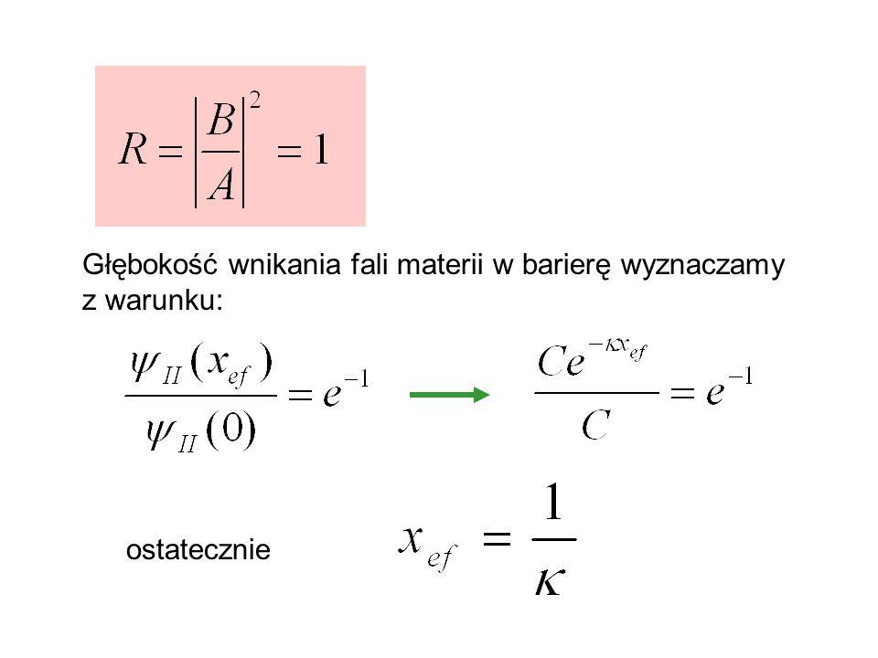 Głębokość wnikania fali materii w barierę wyznaczamy z warunku: ostatecznie