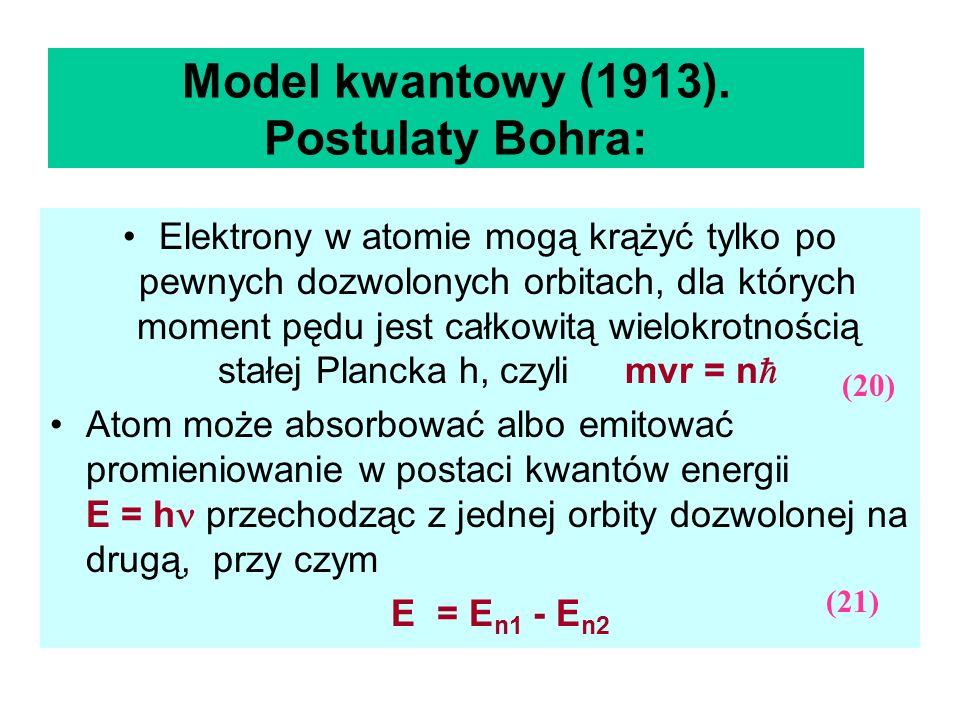 Model kwantowy (1913). Postulaty Bohra: Elektrony w atomie mogą krążyć tylko po pewnych dozwolonych orbitach, dla których moment pędu jest całkowitą w