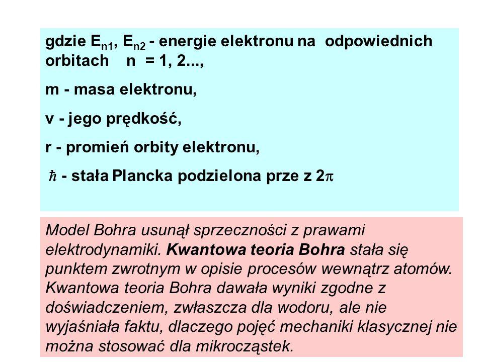gdzie E n1, E n2 - energie elektronu na odpowiednich orbitach n = 1, 2..., m - masa elektronu, v - jego prędkość, r - promień orbity elektronu, - stał