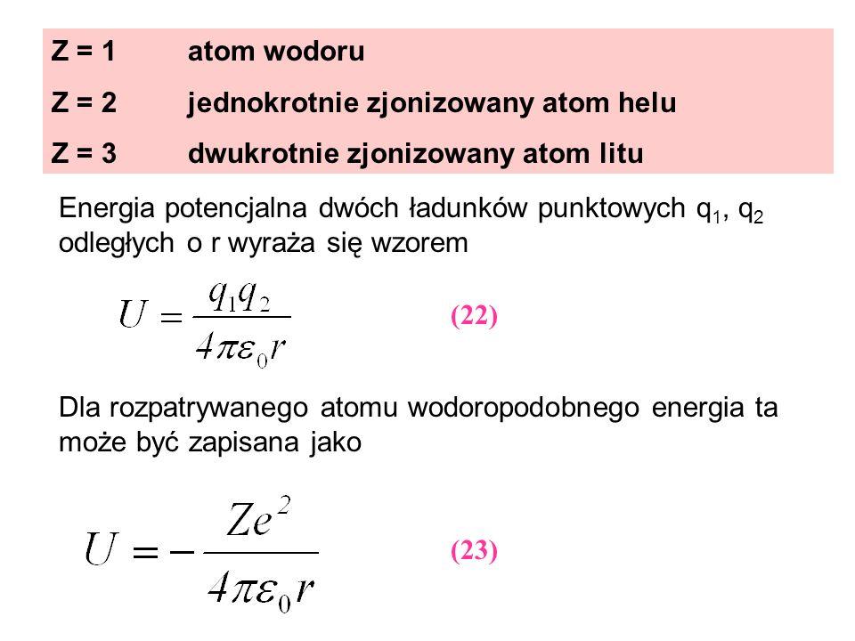 Z = 1 atom wodoru Z = 2 jednokrotnie zjonizowany atom helu Z = 3 dwukrotnie zjonizowany atom litu Energia potencjalna dwóch ładunków punktowych q 1, q