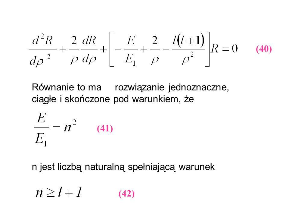 (40) Równanie to ma rozwiązanie jednoznaczne, ciągłe i skończone pod warunkiem, że n jest liczbą naturalną spełniającą warunek (41) (42)