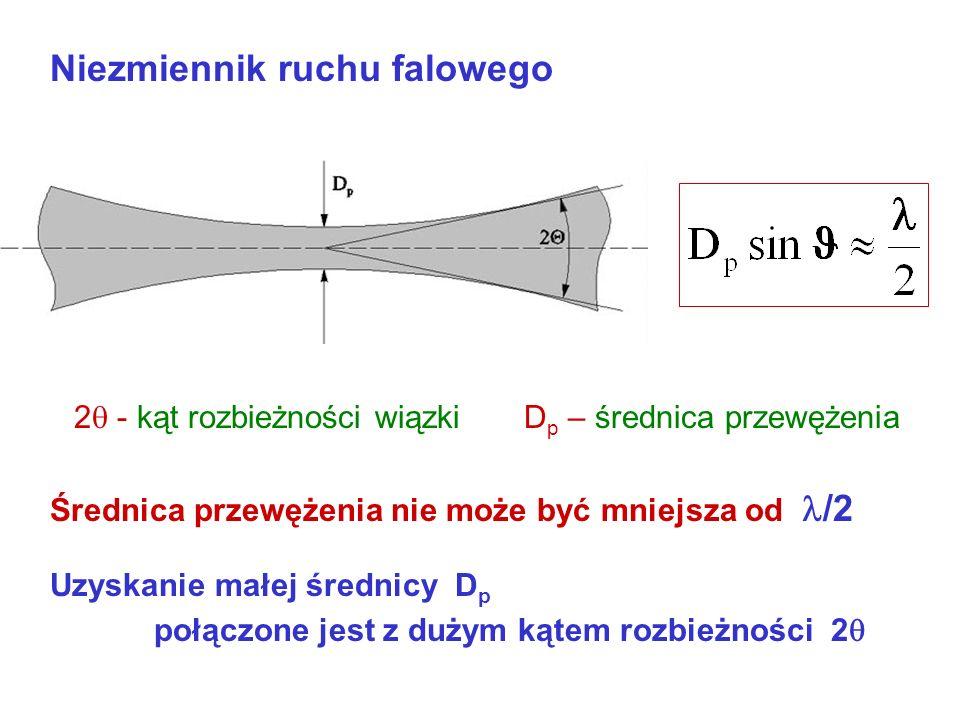Widmo fal elektromagnetycznych Częstotliwość a długość fali 0 Nadfiolet Pasmo optyczne 0 1nm, 1 mm 3·10 17, 3·10 11 Hz c = 299 792.4562 ± 0.0011 300 0